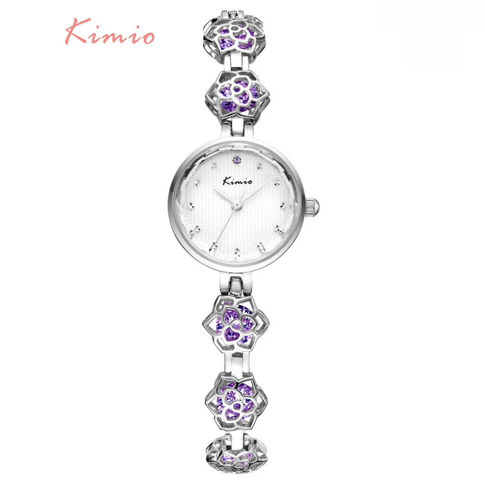 KIMIO Ladies Camellia Flower Bracelet Woman Watches 2018 Brand Luxury Quartz Watch Clock Women Dress Wrist Watches For Women kimio top brand full rhinestone women bracelet watch 2018 silver luxury dress watches ladies crystal quartz wristwatch clock