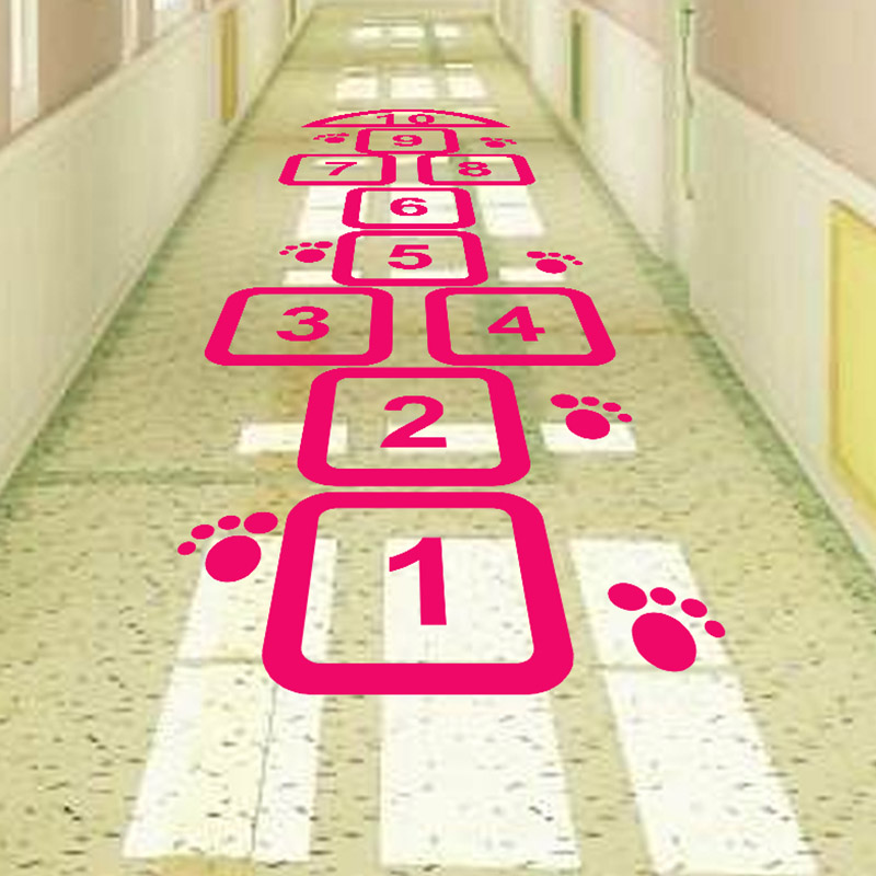 Hopscotch waterproof floor stickers children's amusement park activity center kindergarten PVC fun game layout stickers-in Wall Stickers from Home & Garden