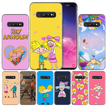 Hey Arnold Black Silicone Case Cover for Samsung Galaxy S10 S10e 5G S9 S8 S7 S6 Edge J8 J6 J5 J4 Plus 2018 Phone Bags Protector