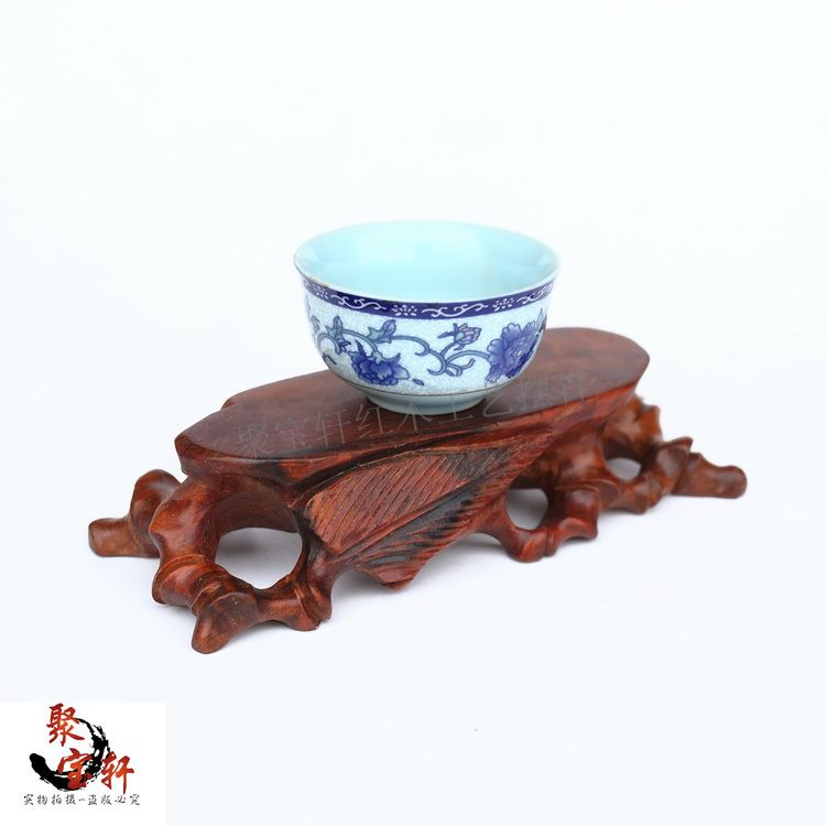 Special seal hollow out root carving jade Buddha mammon base Rosewood carving wooden handicraft accessories furnishing articles