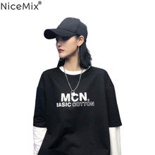 NiceMix Harajuku TShirt Women Tops Autumn Patchwork Long Sleeve MCN T-shirts Korean Streetwear Tumblr Tee Shirt Vetement Femme