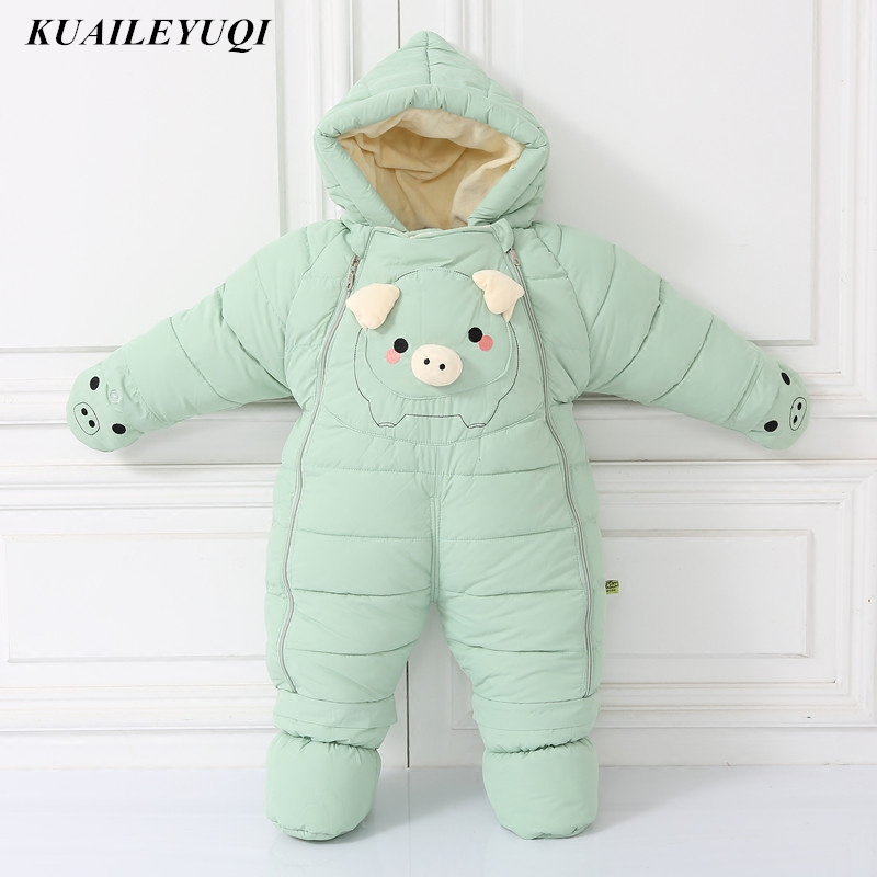 30 degrees cold Winter warm Down cotton Clothing 2018 New Boy Girl Newborn Coat Parka Romper Baby wear Clothes Snowsuit Costume