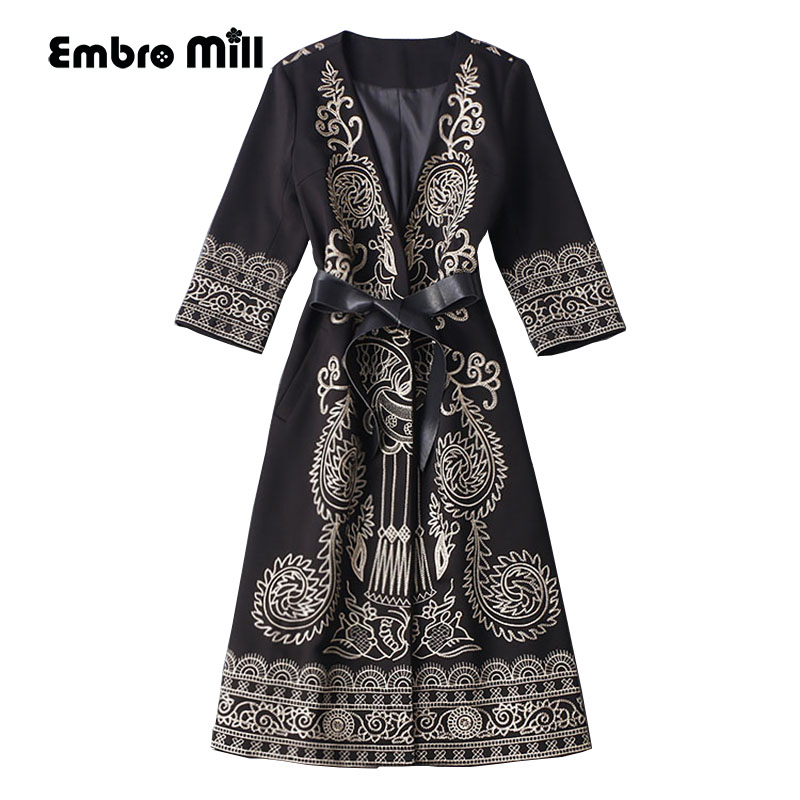 Autumn winter coats for women vintage royal embroidery Chinese style high quality plus size flowers lady   trench   coat female 3XL
