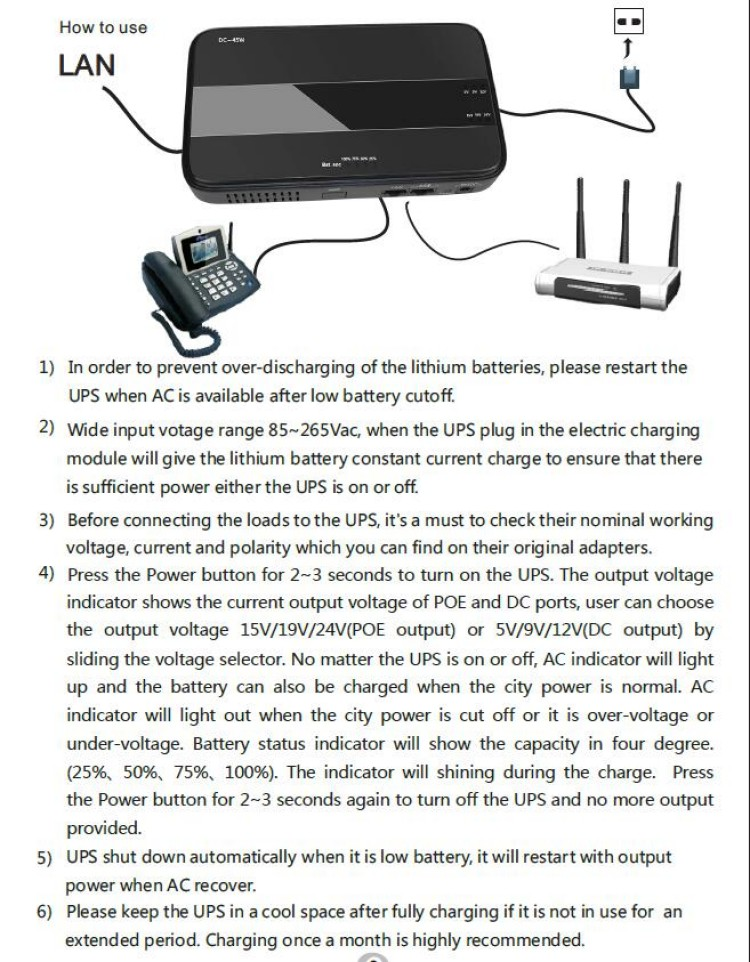 45W Mini Portable UPS with 151924VDC POE (Power Over Ethernet) & 5912VDC Interface Wide 85~265VAC Voltage Adapter Built-in_14