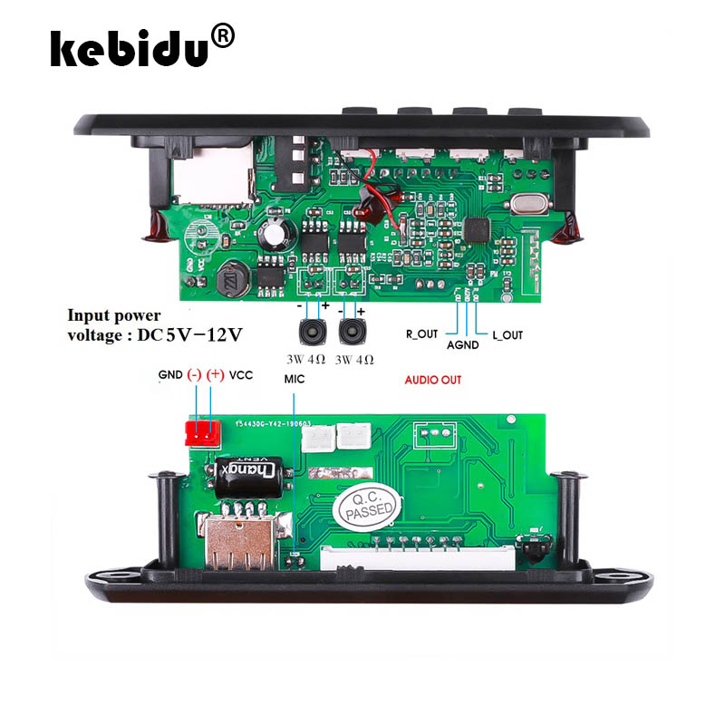 Écran couleur DC12V/5V MP3 décodeur carte bluetooth 5.0 enregistrement Audio APE FLAC MP3 WMA WAV TF USB son Aux Microphone Module de bricolage
