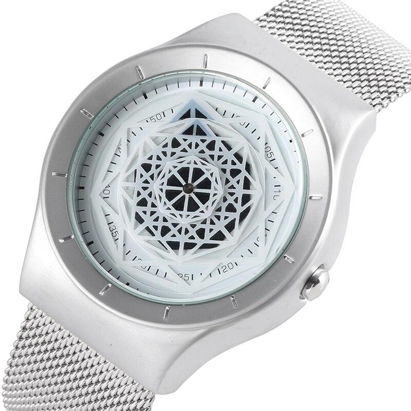 купить Creative Round Square Dial Hollow Flower Dial Watch Men Clock Male New Concept Design Quartz Mesh Wrist Men's Watch Reloj Hombre по цене 600.98 рублей