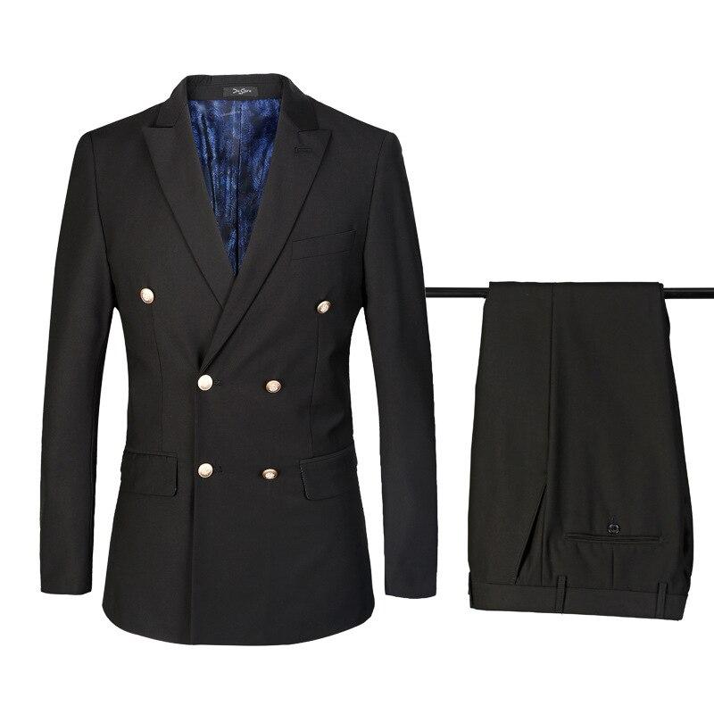 Подгонянный Новый горячий черный двубортный мужской костюм из двух частей (пальто + брюки) мужской деловой строгий костюм джентльменское пл...