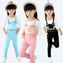 Girl Cotton Letter Print Brace Pants Kids Elastic Candy Color Suspenders For Teenager Baby Grils Cotton Bib Pants