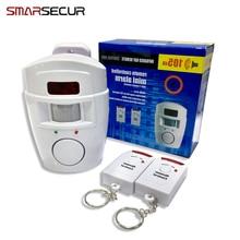 Smarsecu 2 пульта дистанционного управления Беспроводной охранных PIR Alert Инфракрасный Сенсор сигнализации детектор движения сирена