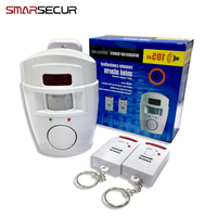 Wireless PIR Motion Sensor Alarm 2 Remote Controls Local Alarm Burglar 105db Siren