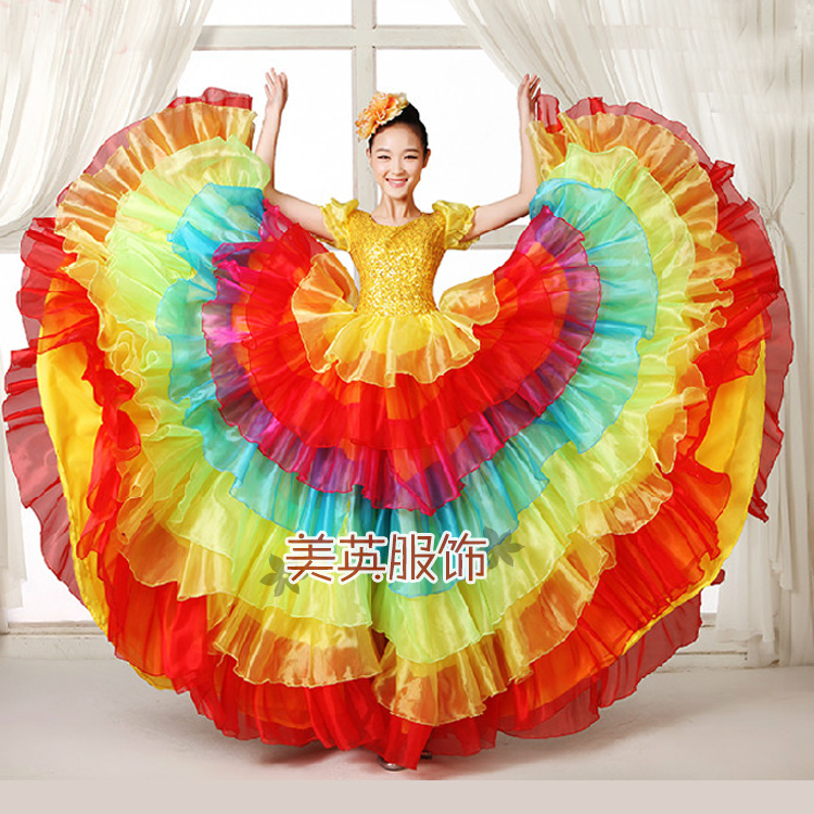 Festival Prom flamenco Costumes Female Paso Doble Wear Choral Dance Clothes Folk Dance Sequined Slim Dress