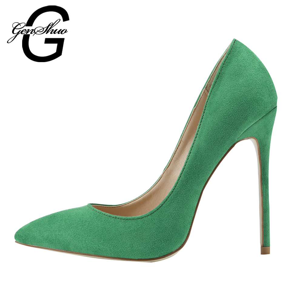 GENSHUO 2017 Spring Styles Women Pumps Thin Heels Flock Fashion Shoes For Ladies Shallow Shoes Sapato Feminino Shoes Plus Size new 2017 spring summer women shoes pointed toe high quality brand fashion womens flats ladies plus size 41 sweet flock t179