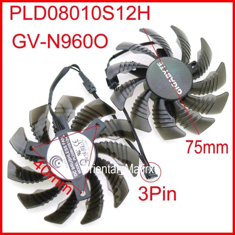 PLD08010S12H 12 V 0.25A 75mm 3Pin ventilador VGA para gigabyte GV-N960O tarjeta gráfica ventilador de refrigeración