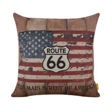 LINKWELL 45x45cm Shabby Chic USA American Style National Flag Cushion Cover decorative throw pillow case Route 66 Man Cave