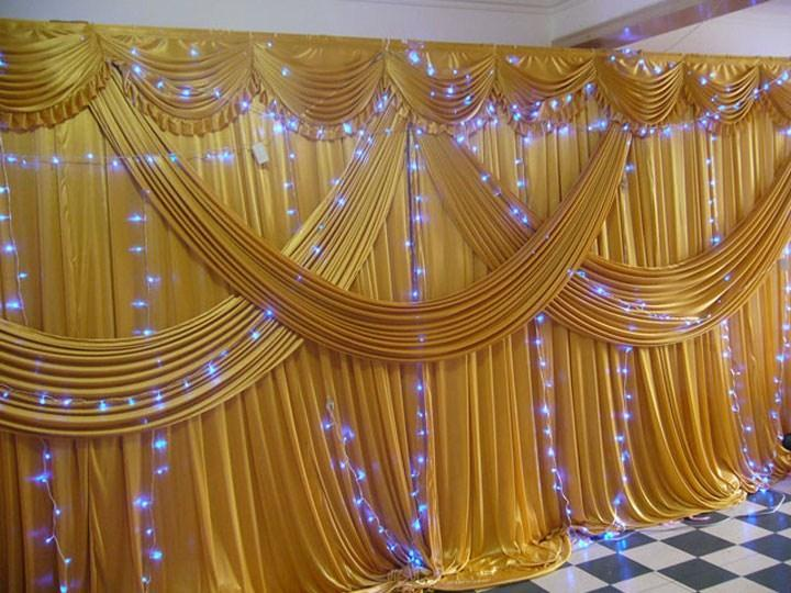 Gold Ice Silk Wedding Backdrops with Swag Stage Background Drape and Curtain 20ft (w) x 10ft (h) for wedding decoration