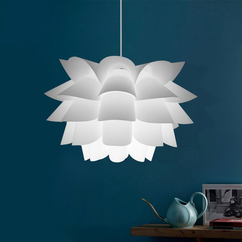 Assembly Lotus Chandelier Ceiling Pendant Lampshade DIY Puzzle Lights Modern Lamp Shade for Room Decoration modern e27 led bulb lotus shape chandelier pendant ceiling lamp shade hanging light lampshade diy home living room bedroom decor