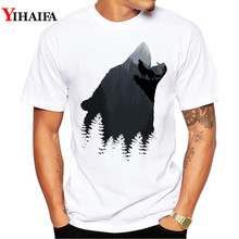 Newest T-Shirt Men 3D Print Wolf Forest Graphic Tees Casual T Shirts White Tee  Harajuku Animal Printed Tops
