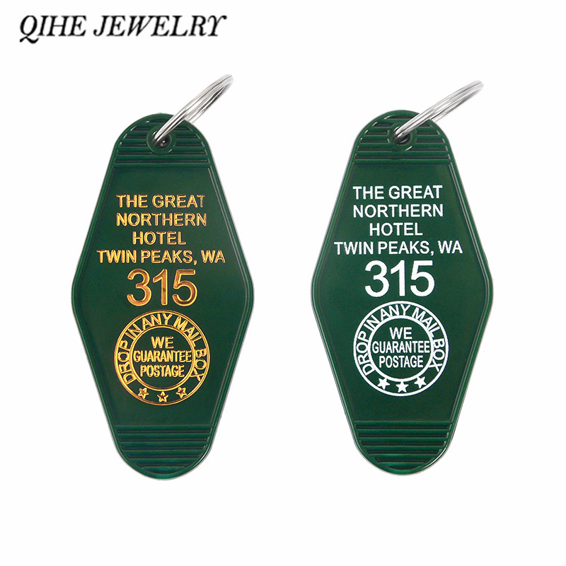 QIHE JEWELRY Twin Peaks Keychain Keytag Key Chain Keyring The Great Northern Hotel Jewelry Gifts For Twin Peaks Fans