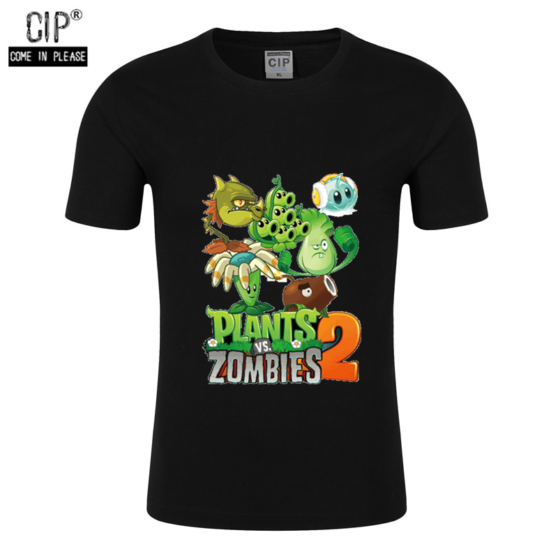 Boys Clothing T-Shirts Zombies Plants Teenager Cartoon Tops Summer PVZ VS Cotton Game-Pattern