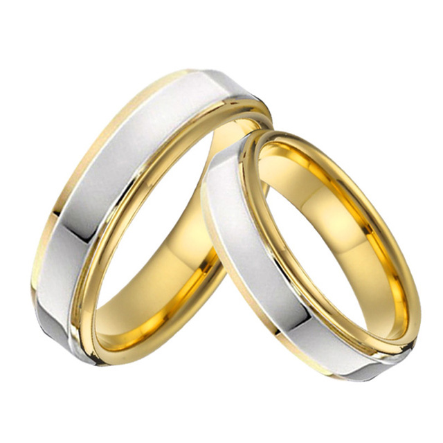Anniversary Alliances Wedding band Couple ring men high polishing silver gold color lover's engagment rings for women