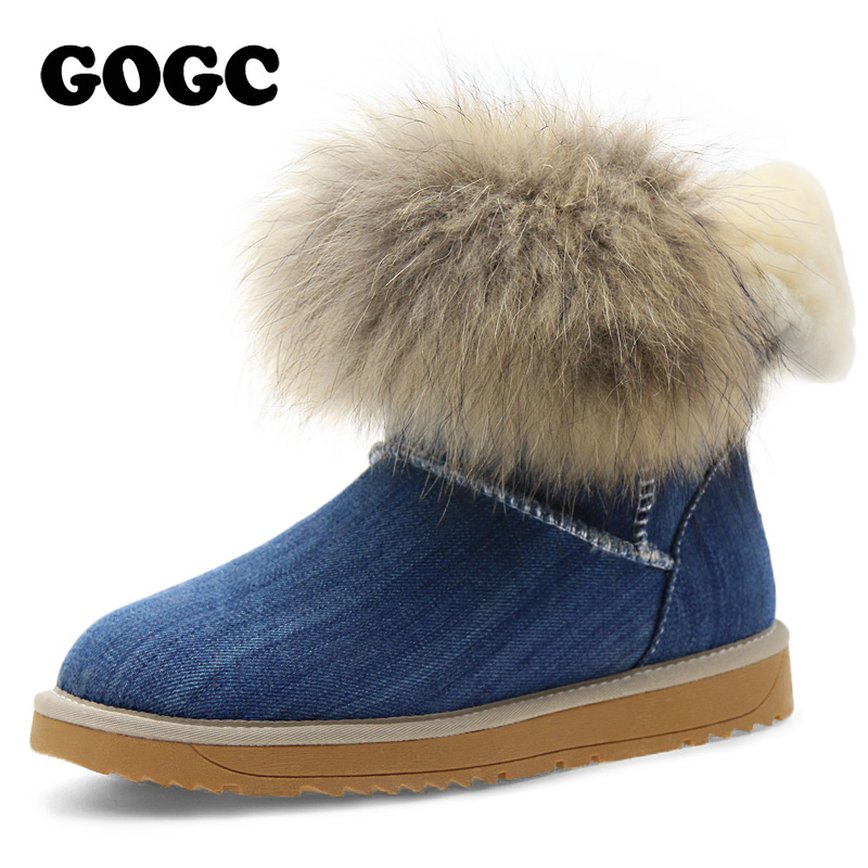 GOGC Russian Famous Brand Denim Women's Winter Boots with Fur and Wool Women's Winter Shoes Ankle Boots Warm Women's Boots Snow