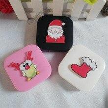 Liusventina DIY акрил милый веселый Рождество чулок Санта Клаус контактные линзы Чехол для очков очешник для цвет линзы