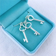 Fashion Brand Silver Jewelry Love Heart Key Necklace Pendant Clover For Women Gifts