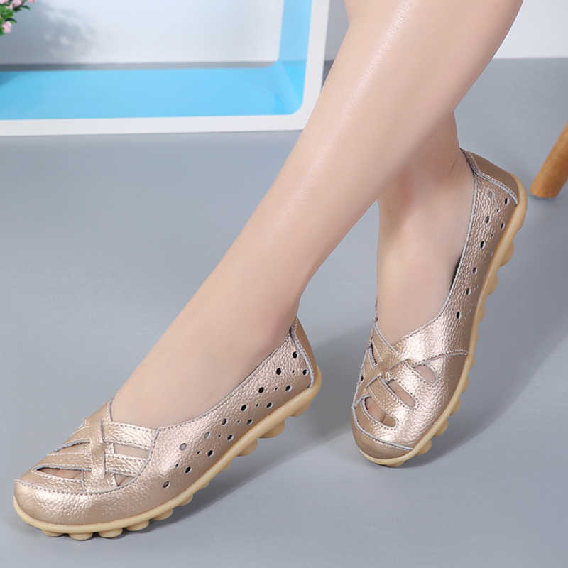 Women Genuine Leather Shoes Women Flats Spring Soft Slip-On Loafers 2019 New Arrival Cut-Outs Flat Peas Non-Slip Shoes Ladies