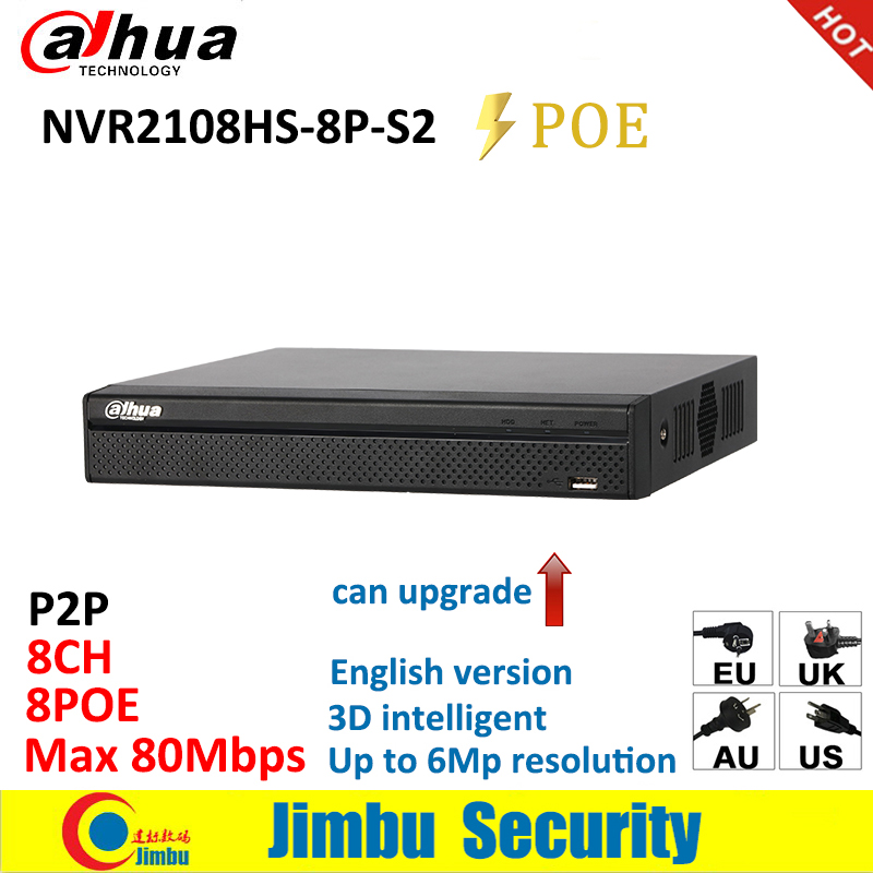 Dahua NVR 8Ch 8PoE NVR2108HS-8P-S2 Smart 1U Lite Network Video Recorder H.264+/H.264 Up to 6Mp resolution Max 80Mbps