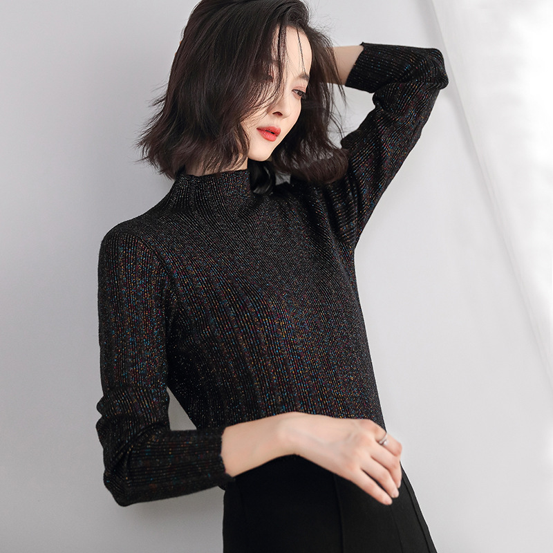 Shiny Thread Women Sweaters And Pullovers Half Turtleneck Slim Fashion Stretch Sweater Pull Femme 2019 Autumn New Women Top