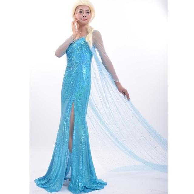 halloween costumes elsa fancy blue dress cosplay costume queen princess adult women elsa dress - Halloween Costumes Of Elsa