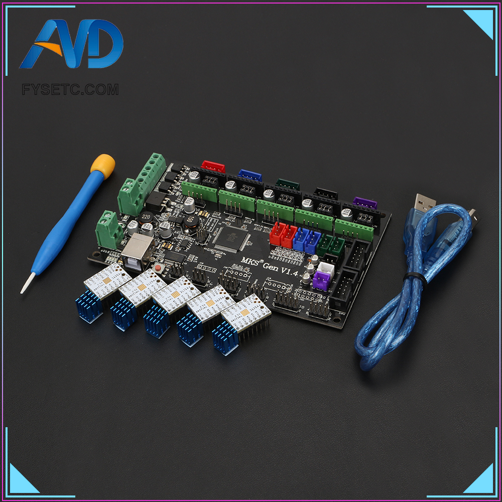 MKS Gen V1.4 control board Mega 2560 R3 motherboard RepRap Ramps1.4 compatible with USB and 5PCS TMC2208 v1.2 3D Printer Parts mks gen v1 4 control board mega 2560 r3 motherboard reprap ramps1 4 compatible with usb and 5pcs a4988 for 3d printer