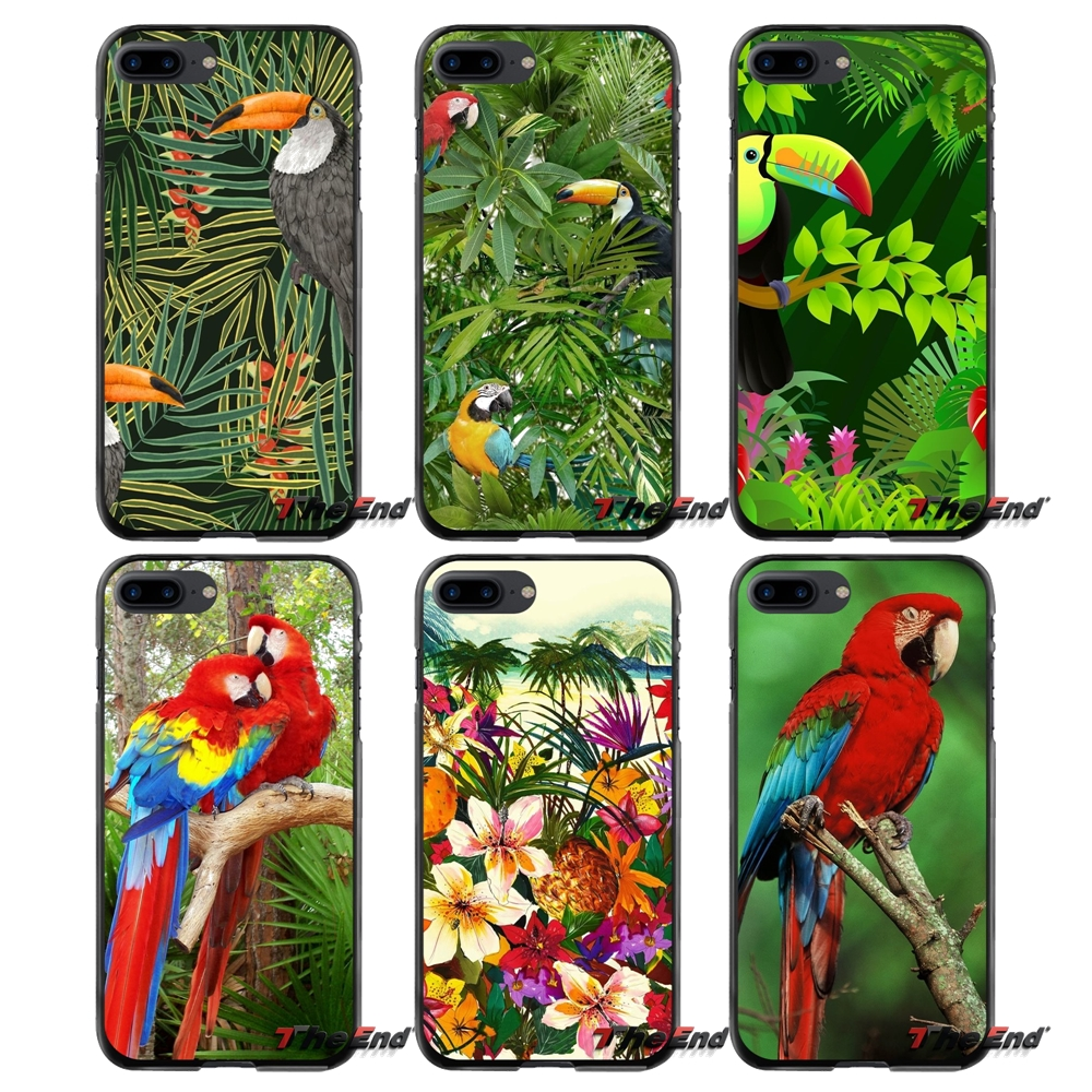 Accessories Covers Parrots and tropical jungle leaves For