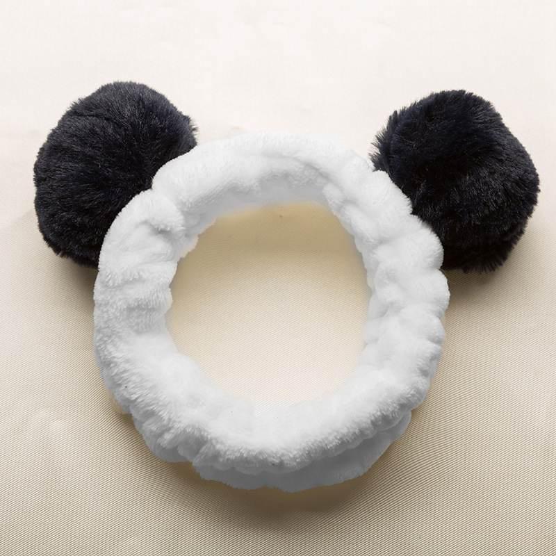1pcs Cute Panda Ear Soft  Women Headband Makeup Shower Head Wrap Hair Band
