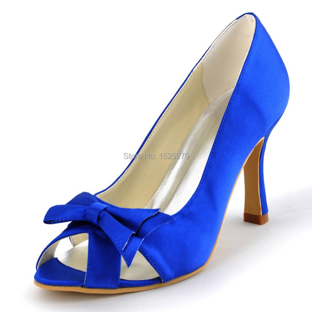 A3055 Blue Ivory Women Bridal Sandals Prom Party Pumps Peep Toe High Heels  Cut-outs Bow Satin Bride Wedding Dress Shoes 0e4eabb8ecdf