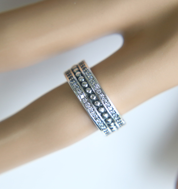 Wide Band Cz Finger Jewelry Solid 925 Sterling Silver Wedding Eternity Ring Vintage Style