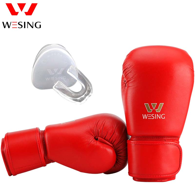 Wesing AIBA Boxing Gloves for Professional Athletes with Mouth Guard Protection Unisex Boxing Gloves for Training Competition все цены