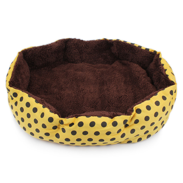 Actionclub Winter Warm Pet Dog Bed Soft Fleece Dot Design Pet Nest With Removable Pet Mat Octagon Shape Kennel Cat Puppy