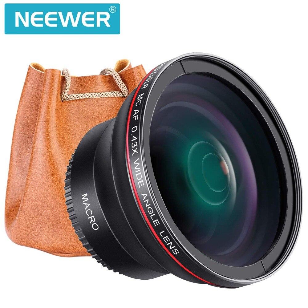 Neewer professionnel HD 52mm 55mm 58mm 0.43x objectif grand Angle (partie Macro) pour les appareils photo Nikon Canon et Sony Alpha