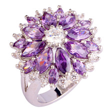New Cluster purple sunflower White 925 Silver color Ring Size 7 8 9 10 11 12 13 Fashion Women Jewelry Flower Design