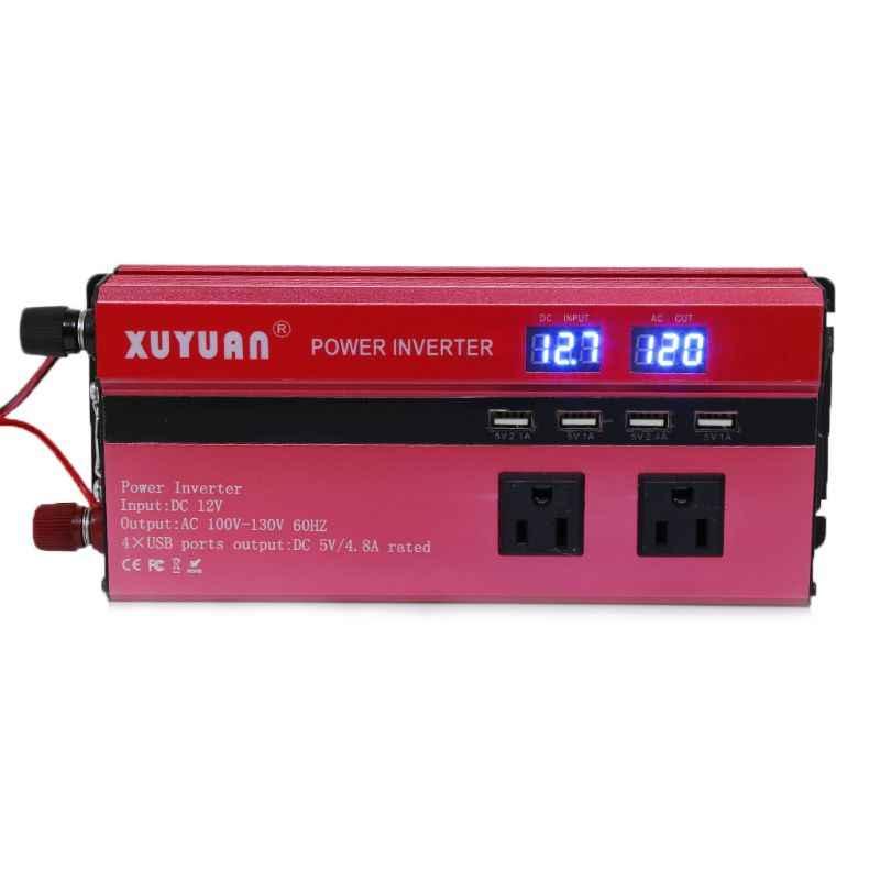 Năng Lượng Mặt Trời 4000W Ô Tô Inverter LED DC12/24 V Sang AC110/220 V Sóng Sin Chuyển Đổi 4 giao Diện USB