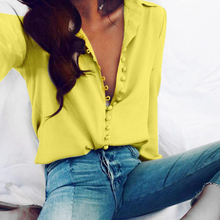 S-5XL Spring Autumn New Chiffon Ladies Shirts Long Sleeve Plus Size Button Women Tops Blouses Blue Black White Red Yellow Tees