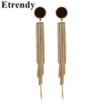 все цены на Simple Metal Tassel Earrings 2019 New Jewelry Gold-Color Long Earrings For Women Bijoux Cute Gift онлайн