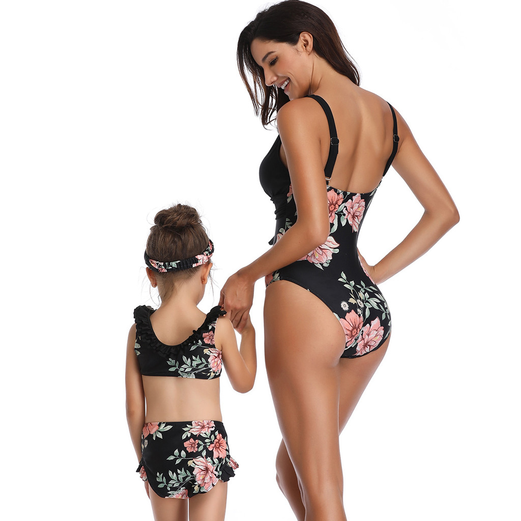 Apparel - Mother And Daughter Swimsuit 2019 Black Floral