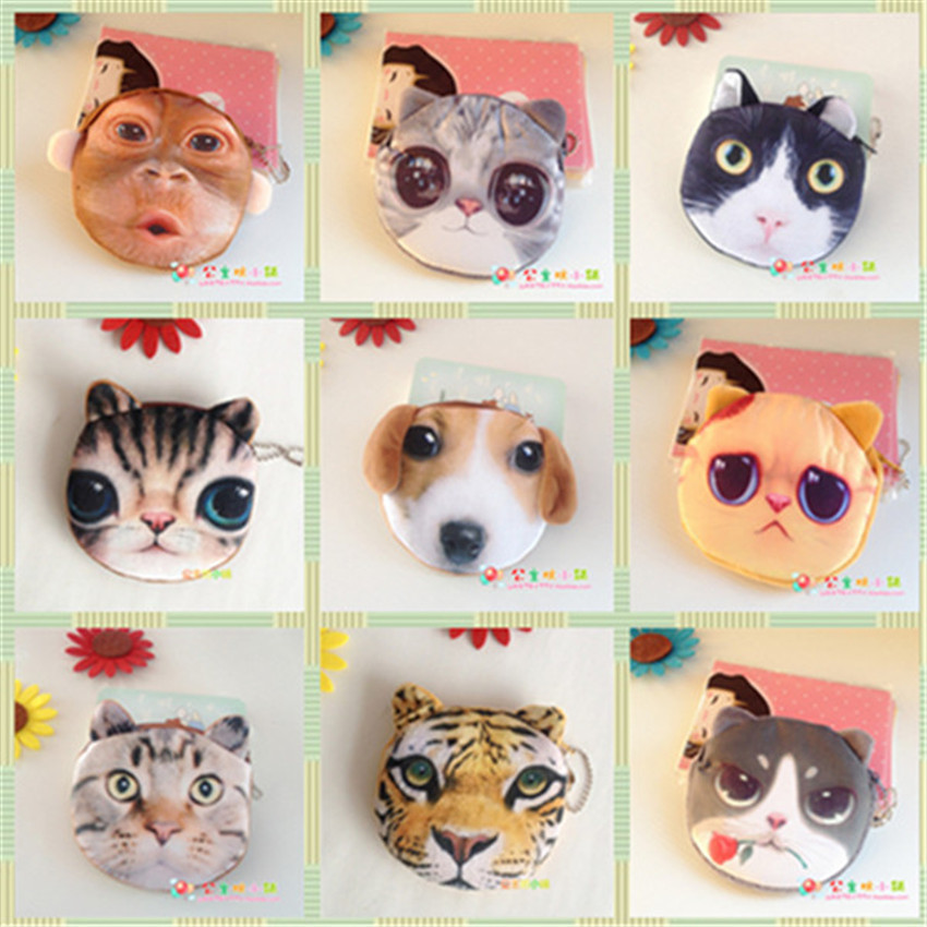Fashion ladies coin purses women plush 3D Animal Face wallet female cute small card bag children boys girls gift for kid 24style 2017new coin purses wallet ladies 3d printing cats dogs animal big face fashion cute small zipper bag for women mini coin purse