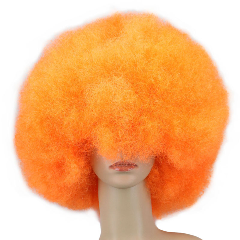QQXCAIW 200g Super Big Short Women Men Children Culry Cosplay Wig Party Orange Dance Synthetic Afro Wigs