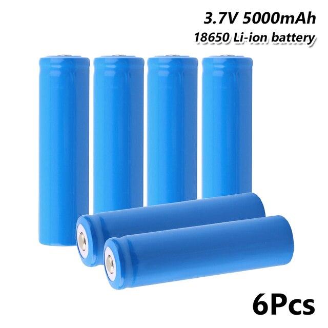 6 stücke hohe leistung 18650 batterie 5000 mah 3,7 v Für Taschenlampe Mini Fan Power akkus entladung Für E -zigarette