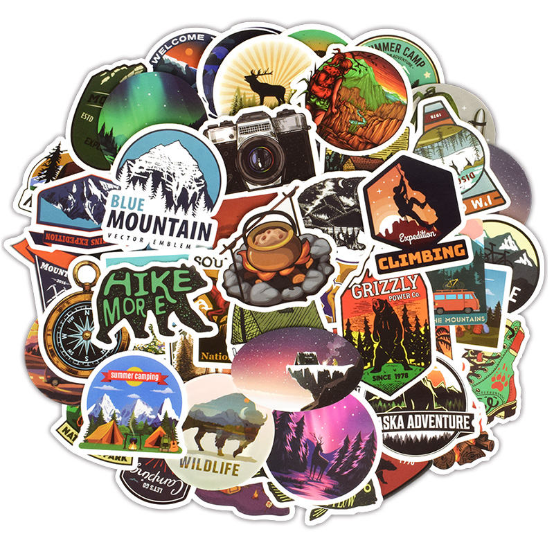 Low Price  50Pcs Outdoor Adventure Tourism Theme Stationery Stickers Waterproof Outdoor Landscape Decal Scrapb