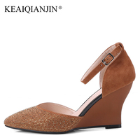 KEAIQIANJIN Woman Wedges Crystal Sandals Fashion Sexy Brown Green High Heels Shoes Plus Size 34 43