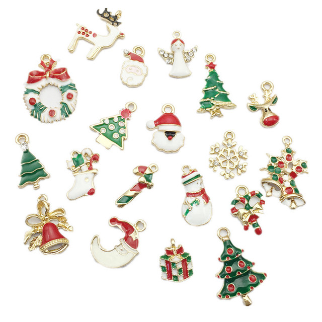 19pcs New Year  Metal Alloy Christmas Charm Decor Set Xmas Pendant Drop Ornaments Hanging Christmas Decoration Navidad 2018